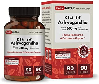 KSM-66 Ashwagandha by DailyNutra - 600mg Organic Root Extract - High Potency Supplement with 5% Withanolides | Stress Reli...