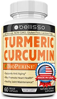 Turmeric Curcumin Supplement Capsules with Bioperine Joint Support and Pain Relief Organic All Natural Antioxidant Gluten ...