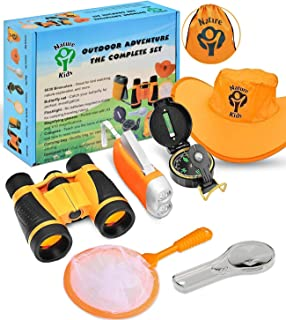Outdoor Adventure Kit for Kids - Binoculars, Flashlight, Compass, Magnifying Glass & More. Children Explorer Camping Toy Set. Nature Exploration Toys Birthday Gifts for Boys & Girls Ages 3-10 Year Old