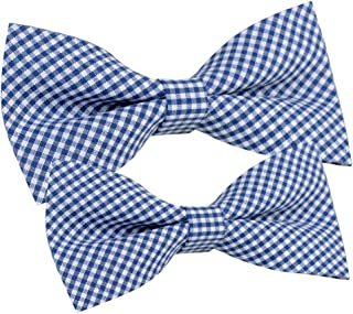 Brand New Cotton Checked Pretied Tuxedo bow tie for MEN and bow tie for BOY Dad Son SET-Various Colors