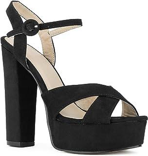 RF ROOM OF FASHION Women's Open Toe Platform Chunky High Heel Dress Pumps Sandals