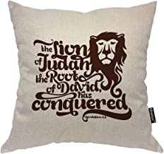 Moslion Bible Verse Pillows The Lion of The Tribe of Judah The Root of David Has Conquered Word Throw Pillow Cover Decorative Pillow Case Square Cushion Accent Cotton Linen Home 18x18 Inch