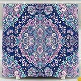 Conjunto De Cortina De Ducha con Gancho Hermoso Adorno Floral Imprimir Toalla Étnica Estilo De Tatuaje De Henna Se Puede Utilizar Textil, Azul Dorado
