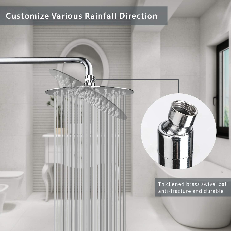 n/íquel cepillado /ángulo de pulverizaci/ón giratorio experiencia de ducha voluptuosa f/ácil instalaci/ón Alcachofa de ducha de lluvia de acero inoxidable 304 de 15,2 cm WOOPHEN