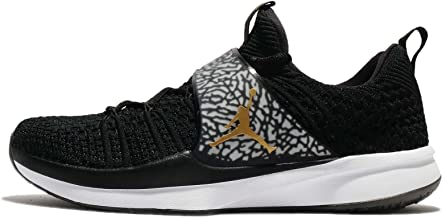 NIKE Jordan Men's Trainer 2 Flyknit, Black/Metallic Gold-White, 11 M US