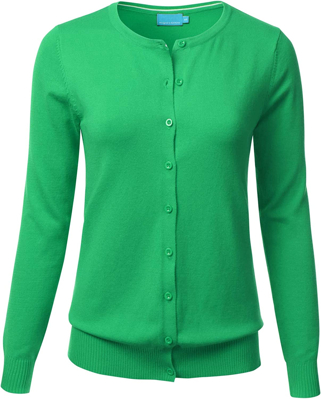 FLORIA Women's Button Down Crew Neck Long Sleeve Soft Knit Cardigan Sweater APPLEGREEN L