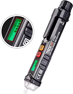 Tacklife VT02 Detector del Voltaje CA sin contacto con Pantalla electronica LCD, alarma sonora, detector de tensión elíctrico comprobador de 12V-1000V, Sensibilidad ajustable, Prueba de doble rango