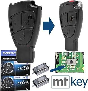 Auto Schlüssel Smartkey Funk Fernbedienung Sender 3 Tasten Gehäuse 2X Mikrotaster 2X CR2025 Batterie für Mercedes Benz