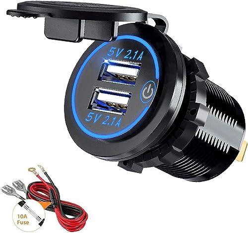Thlevel Toma USB Coche 12V / 24V 4.2A Cargador Rápido de Coche Dual USB Impermeable con LED Indicador para Coches, Mo...