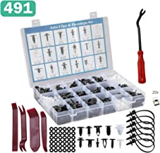 491 Pcs Car Retainer Clips & Plastic Fasteners Kit - 19 Kinds Nylon Bumper Retainer Clips Auto Push Pins Rivets Set Door Trim Panel Clips Universal Fit for GM Ford Toyota Honda Nissan Mazda