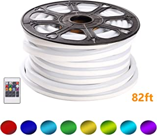 Shine Decor 110V RGB 8colors Changeable LED Neon Rope Lights   Plug & Play Light Strip for Indoor Outdoor Lighting   Safe Flexible Glowing Lights for Party Decorations & Ambient Spaces   82ft