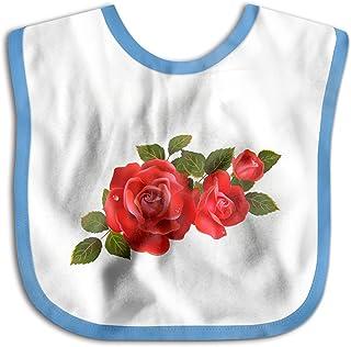 UBCATDESA Red Rose Flower Cluster Baby Bibs, Unisex Baby Soft Cotton Easily Clean Teething Bibs(Blue&Pink)