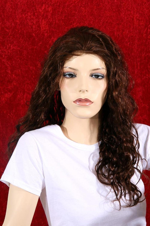 Schaufensterpuppendiscount Braune, lockige Echthaarperücke für Damen aus Indian Remy Hair, handgeknüpft, ca 55 cm