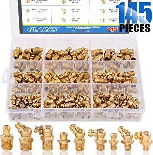 Glarks 145-Pieces Metric M6 M8 M10 Brass Zerk Grease Nipple Fittings Assortment Kit - Straight, 90 Degree, 45 Degree Angled Zerks