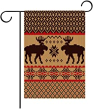 Double Sided Flag Garden Flag Holiday Decoration Cabin Decor Knitted Swatch with Deers and Snowflakes Classic Country Plaid Digital Print Outdoor Party Yard Flags, Decorative House Yard Flag