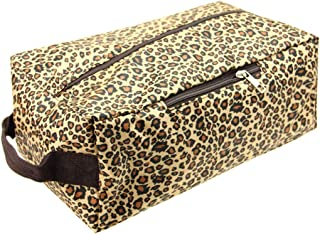 QUARKERA Leopard Cheetah Print Water Resistant Shoe Bags for Travel, Storage Organizer Pouch with Zipper,for Men Women