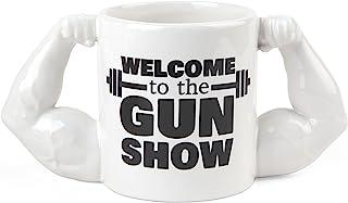 BigMouth Inc Gun Show Coffee Mug, Holds 24oz, Ceramic Cup for Coffee and Tea with Handle, Funny Novelty Gym Coffee Mug