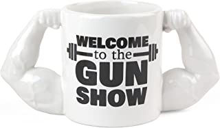 BigMouth Inc Gun Show Coffee Mug, Holds 24oz, Ceramic Cup for Coffee and Tea with Handle, Funny Novelty Gym Coffee Mug