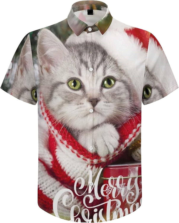 Men's Short Sleeve Button Down Shirt Christmast Cat Lie Down Summer Shirts