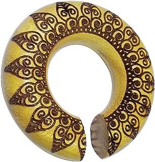 CHICNET - Piercing dilatatore per orecchio, unisex, in legno di ocra marrone, anello a ciambella, incisione pavone Mandala...