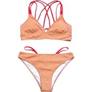 Seaselfie Women's Stripe Print Low Waist Triangle Thong Bikini Set Cross Strappy Two Pieces Suits