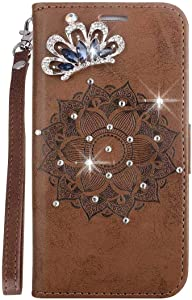 Bear Village  Galaxy Case  Premium Scratch Resistant Leather Case  TPU Inner Shell Flip Protective Cover with Card Slot for Samsung Galaxy A8  Brown