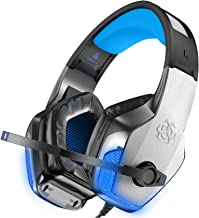 BENGOO V-4 [Updated] Gaming Headset for Xbox One, PS4, PC, Controller, Noise Cancelling Over Ear Headphones with Mic, LED Light Bass Surround Soft Memory Earmuffs for Mac Nintendo Switch (Blue)
