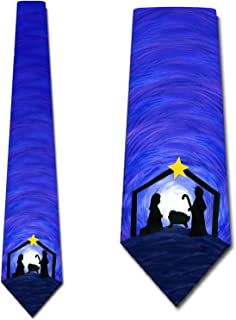 Nativity Ties Mens Religious Christmas Manger Neck Ties by Three Rooker