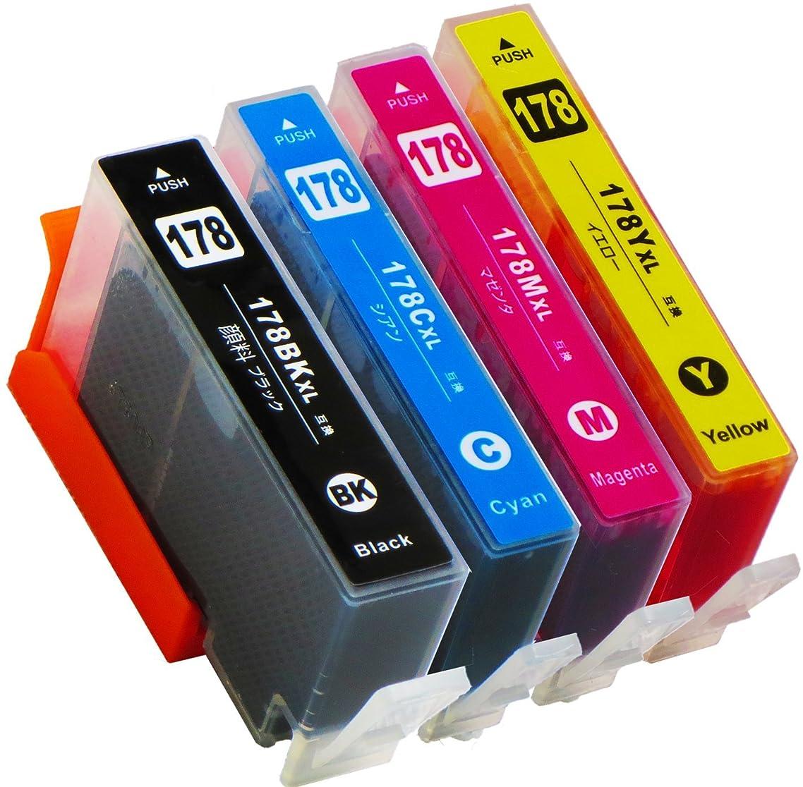 ピニオン降ろすモトリーhp ( ヒューレットパッカード )用 HP178XL 4色マルチパック互換インク ( CR281AA 互換インク増量サイズ) ISO14001/ISO9001認証工場生産商品 残量表示対応ICチップ 1年保証 インクのチップスオリジナル 対応機種: Deskjet 3070A / 3520 / Officejet 4620 / Photosmart 5510 / 5520 / 5521 / 6510 / 6520 / 6521 / B109A / C5380 / C6380 / D5460 / B209A / B210a / C309a / C309G / C310c / B109N / B110a