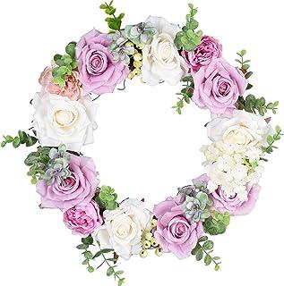 YQing 35cm Couronne d'Rose Artificielle, Fleur Couronne Porte de Couronne Decorative avec Baies pour la Décoration de la M...