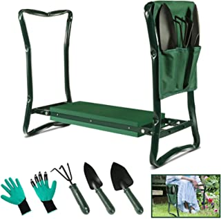 Garden Kneeler Stool Seat and Foam Pad Bench 2in1 Portable Folding Gardener Knee Protector with Handles Tool Bag and 5 Gar...