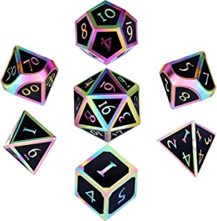Hestya 7 Pieces Metal Dices Set DND Game Polyhedral Solid Metal D&D Dice Set with Storage Bag and Zinc Alloy with Enamel for Role Playing Game Dungeons and Dragons (Electrophoretic Colorful Black)