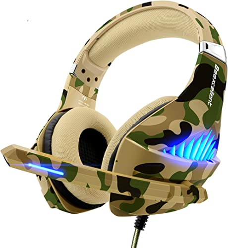 Gaming Headset for PS4 Xbox One PC, Beexcellent Deep Bass PS4 Headset with Noise Immunity Mic, LED Light, Friction-Re...