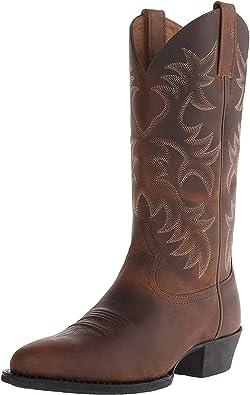 Stivali da Cowboy Occidentali Tacco Alto Punta a Punta Indossabile per Uomo Modello di Ricamo Scarpe in Pelle Stivali a metà Polpaccio Antiscivolo di Grandi Dimensioni
