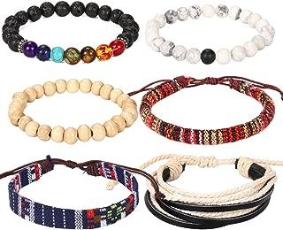 Friendship Couple Leather Boho Bracelet-6 Pieces Lava Stone Wood Beads Hemp String Ethnic Tribal for Women Mens Bracelet Set … …