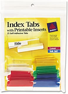 Avery 16228 Insertable Index Tabs with Printable Inserts, 1 1/2, Assorted, White (Pack of 25)