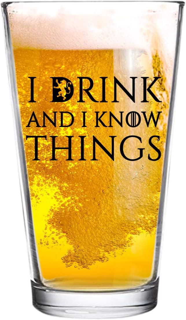 I Drink and National products Know Things Beer Glass Bee 16 oz - Funny Novelty Max 52% OFF