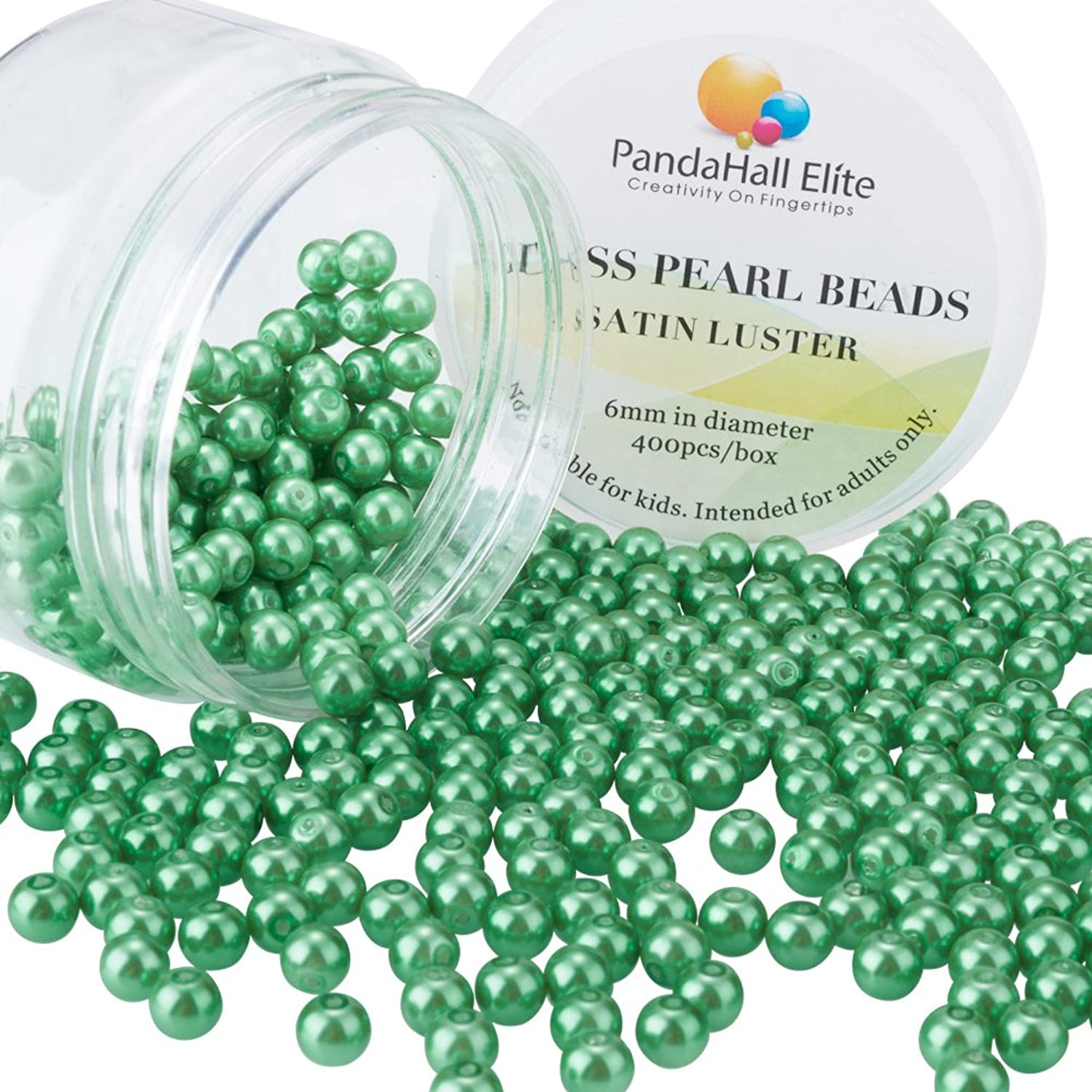 PandaHall Elite 6mm About 400Pcs Tiny Satin Luster Glass Pearl Round Beads Assortment Lot for Jewelry Making Round Box Kit Green