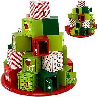 comprar comparacion Deuba Calendario de Adviento de Madera Torre de Regalos de Color 24 cajoncitos con pomo Adorno personalización DIY Deco