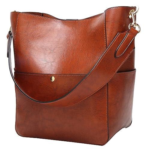 Molodo Womens Satchel Hobo Top Handle Tote Shoulder Purse Soft Leather Crossbody Designer Handbag Big Capacity