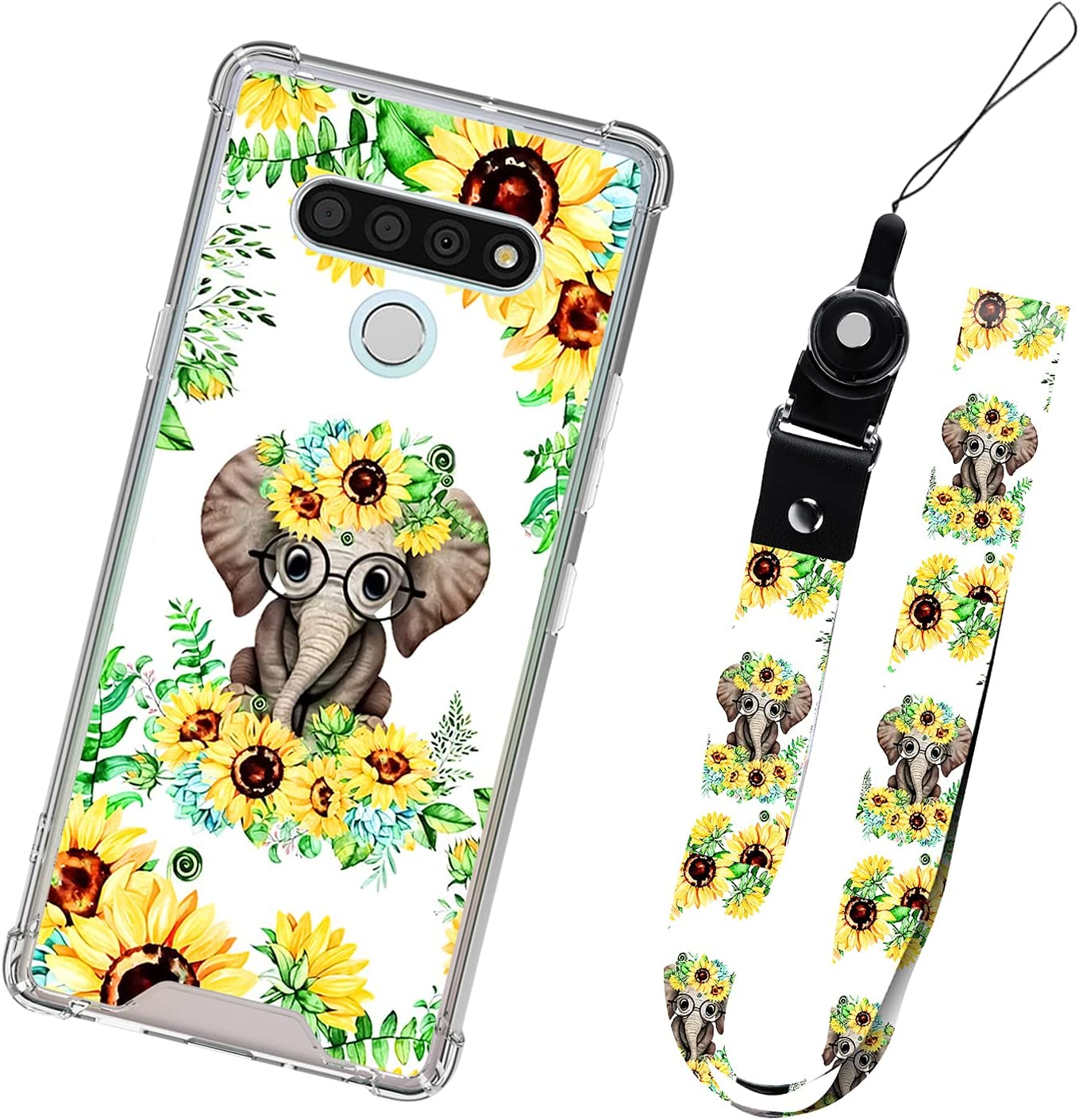 LG K51 5G Case Sunflower Floral with Lanyard for Women Girls Protective Shockproof Heavy Duty Cute Elephant Flower Pattern Cell Phone Bumper Cover Case Neck Strap for LG K51 5G 6.5