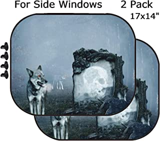 MSD Car Sun Shade - Side Window Sunshade Universal Fit 2 Pack - Block Sun Glare, UV and Heat for Baby and Pet - Image 15631515 Wolves Guarding an Old Grave in a Dark Forest