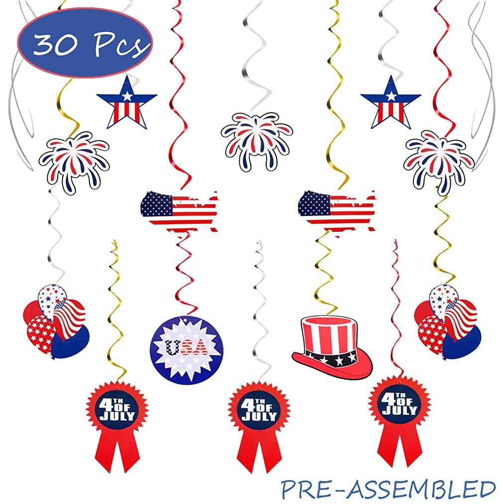 4th of July Patriotic Party Hanging Foil Swirl Streamers Decoartions American Independence Day Memorial Day Veterans USA Stripes Flag Party Sign Supplies