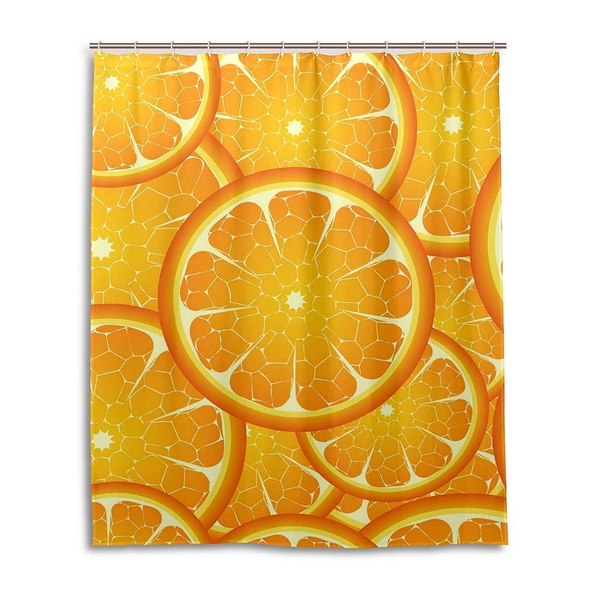 スリット蓮落ち着いたマキク(MAKIKU) シャワーカーテン おしゃれ 防カビ リング付属 レモン柄 オレンジ バスカーテン ユニットバス 浴室 脱衣所 取付簡単 150x180