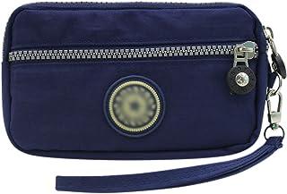 Small Crossbody Bag 3-Layers Zipper Coin Purse Wristlet Purse Waterproof Nylon Shoulder Strap Cellphone Pouch