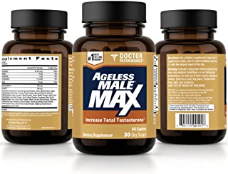 Ageless Male Max Total Testosterone Booster for Men – Increase Nitric Oxide and Improve Workouts, Reduce Fat Faster Than Exercise Alone, Support Sleep, Drive & Energy (60 Caplets, 1-Bottle)