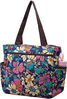 YOUBAMI Tote Shoulder Bag Handbag, Canvas Classic Multifunctional Work Travel Picnic Shopping Duffel Women Carrying Shoulder Handbag with Double Side Pocket Shopping Bag, Blue Basis Flower