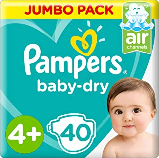 Pampers Baby-Dry, Size 4+, Maxi+, 10-15 kg, Jumbo Pack, 40 Diapers