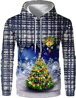 Plaid Hoodie Mens Pullover Sweatshirt Hooded Christmas 3D Tops Blouse Shirt