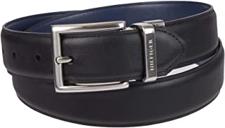 Tommy Hilfiger Reversible Leather Belt - Casual for Mens Jeans with Double Sided Strap and Silver Buckle